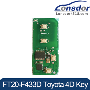 Lonsdor FT20-F433D 433.92MHz Toyota 4D Smart Key PCB